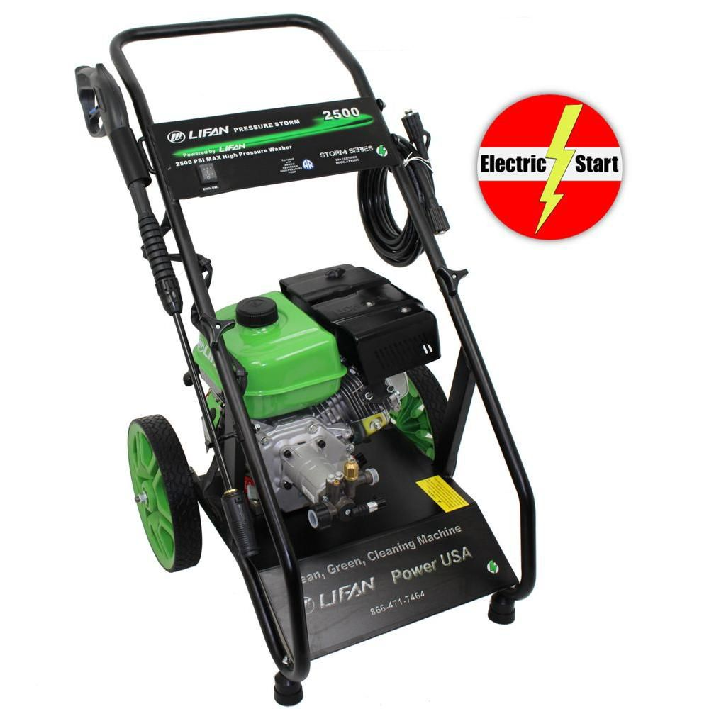 2500-PSI 2.0-GPM AR Axial Cam Pump Electric Start Gas Pressure Washer with Heavy Cart and 12 Inch...