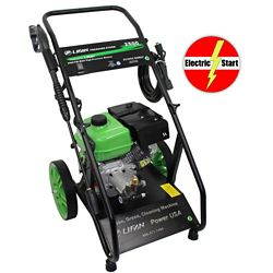 LIFAN 2500 PSI 2.0 GPM AR Axial Cam Pump Electric Start Gas Pressure Washer with Heavy Cart and 12-inch wheels