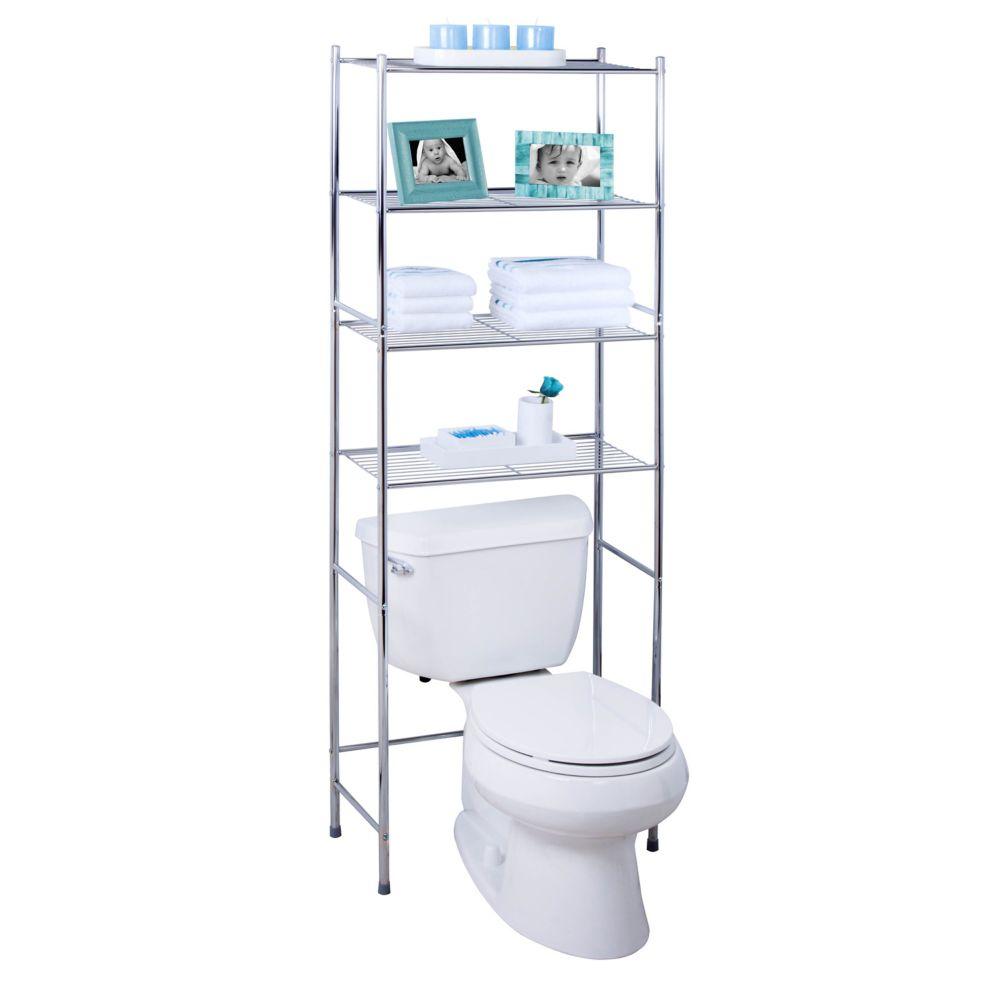 Honey-Can-Do International 4-Tier Over the Toilet Space Saver, Chrome