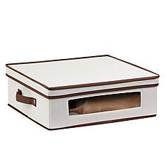 Dinnerware Storage Box,  16.5 Inch  x 14.25 Inch  x 5.75 Inch , Light Canvas - cups