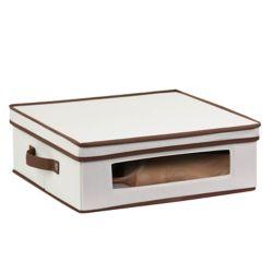 Honey-Can-Do Dinnerware Storage Box,  16.5 Inch  x 14.25 Inch  x 5.75 Inch , Light Canvas - cups