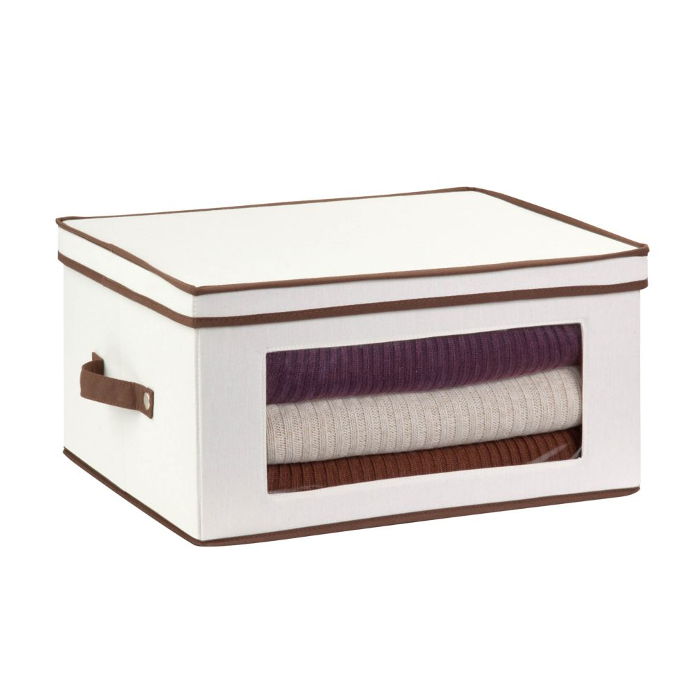 Dinnerware Storage Box,  18.5 Inch  x 14 Inch  x 8.5 Inch  Light Canvas - balloon style wine glas...