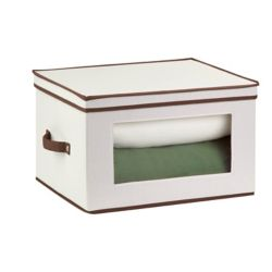 Honey-Can-Do International Dinnerware Storage Box,  17 Inch  x 13.5 Inch  x 10.5 Inch Light Canvas - goblet style wine glasses