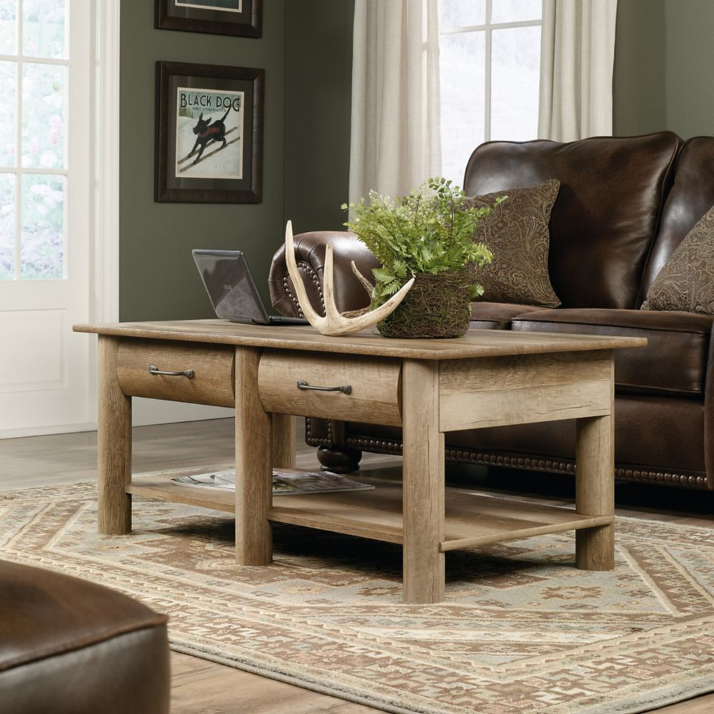 - Sauder Boone Mountain Coffee Table In Craftsman Oak The Home