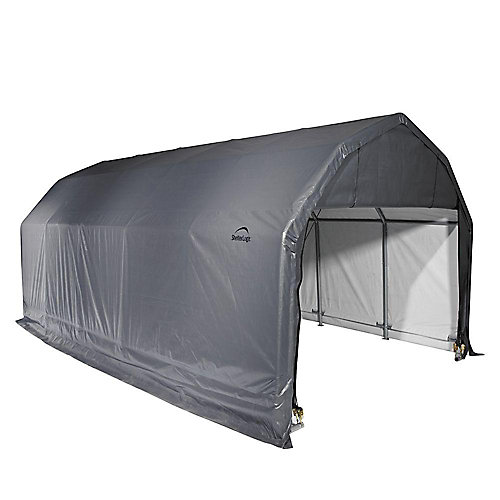 12 ft. x 24 ft. x 11 ft. Barn Style Shelter in Gray