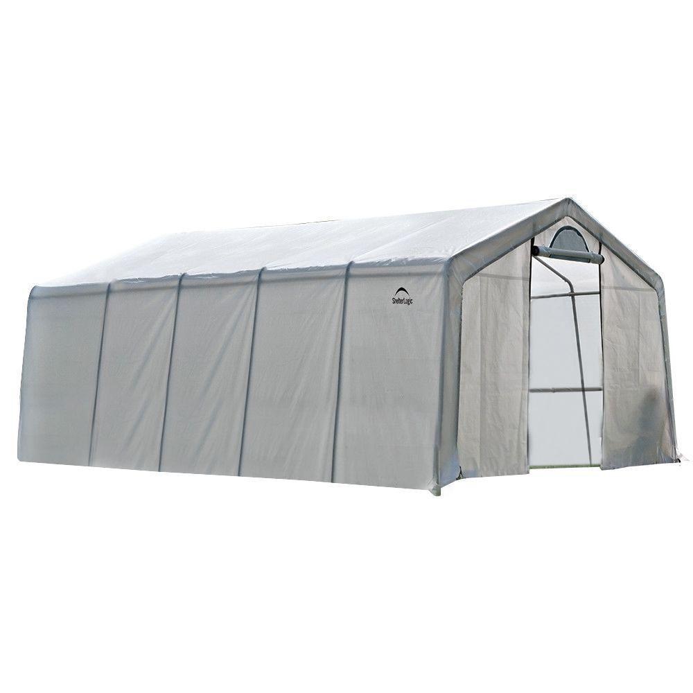 ShelterLogic GrowIt 12 ft. x 20 ft. x 8 ft. Heavy Duty Walk-Thru Peak-Style Greenhouse