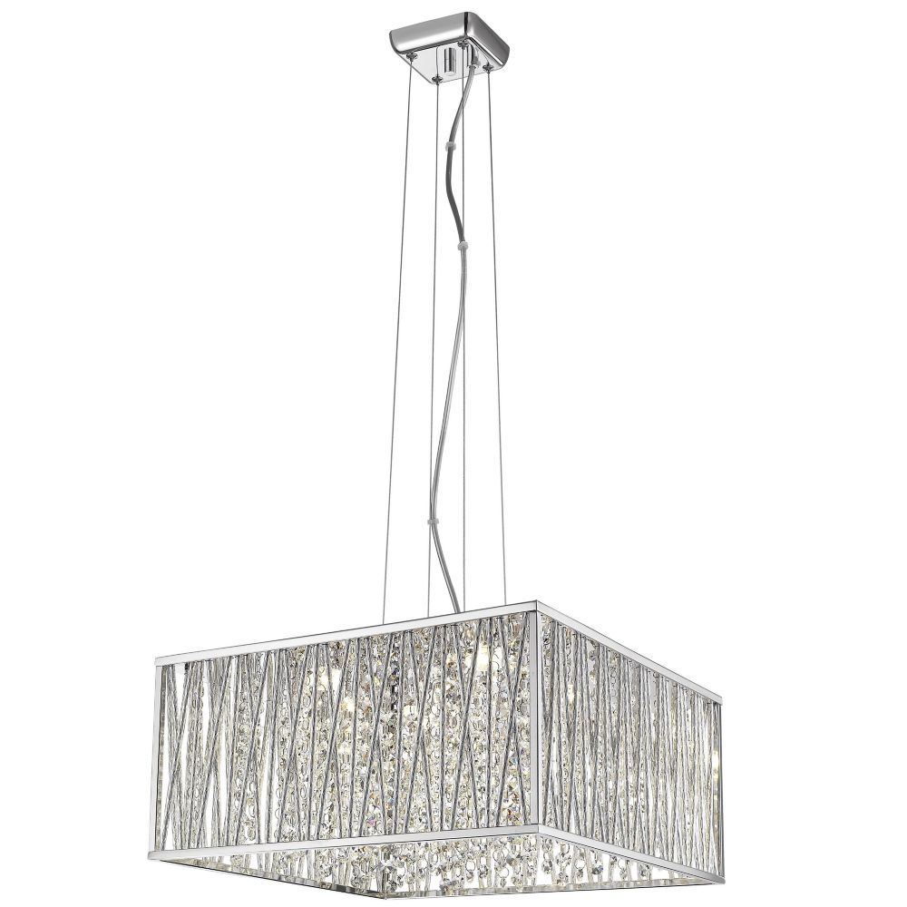 low priced b661b 16215 Saynsberry 22-Watt Chrome and Crystal Integrated LED Square Shape Pendant