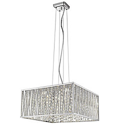 Home Decorators Collection Saynsberry 22-Watt Chrome and Crystal Integrated LED Square Shape Pendant