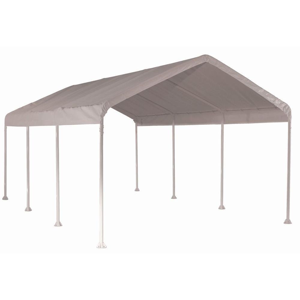 Auvent Max AP 3 m x 6 m haute résistance à 4 poutrelles avec couverture polyéthylène blanche