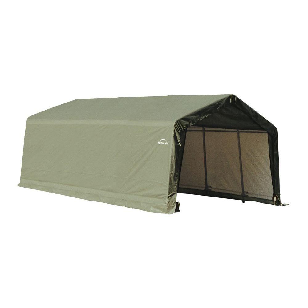 ShelterLogic 12 ft. x 20 ft. x 8 ft. Peak Style Shelter in Green