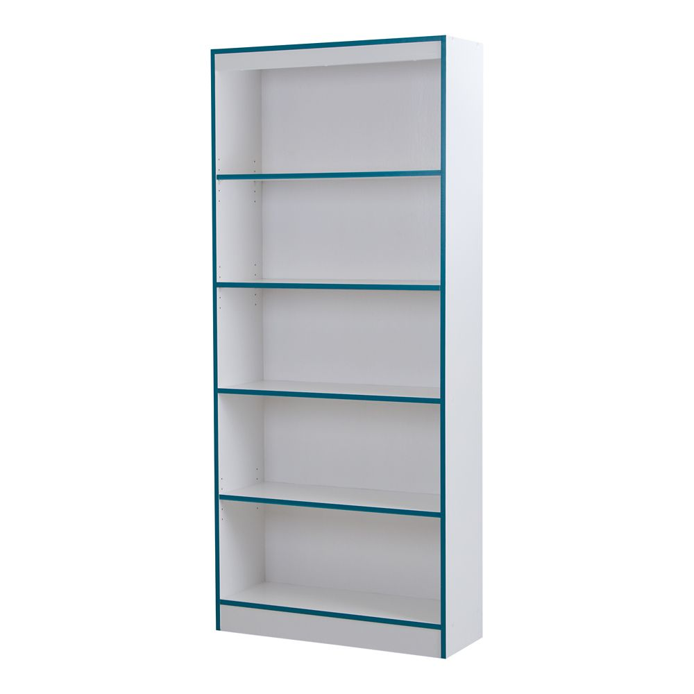 Axess 5-Shelf Bookcase, Pure White and Turquoise