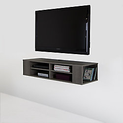 City Life 48-inch Wall Mounted Media Console in Grey Maple