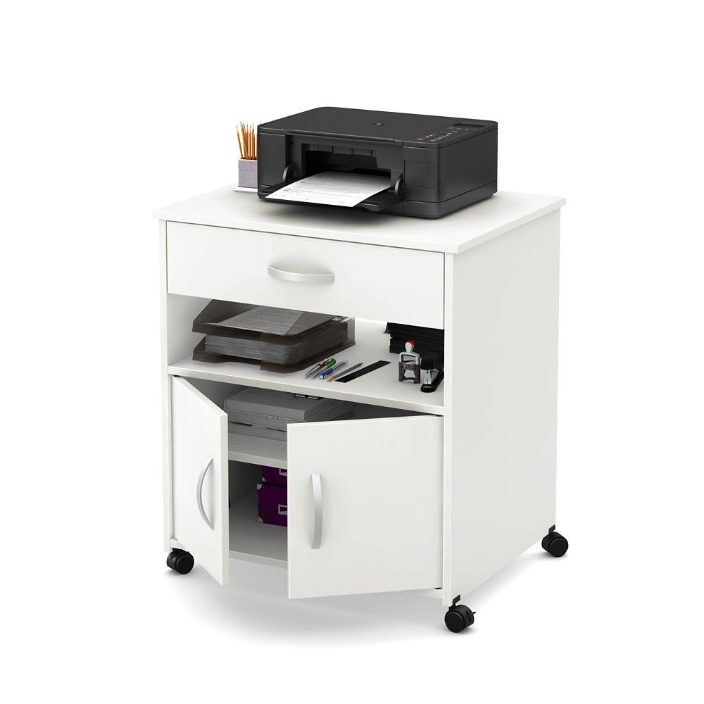 Rangement à imprimante sur roulettes, Blanc solide, collection Axess