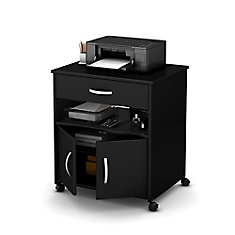 Axess Printer Cart on Wheels, Pure Black