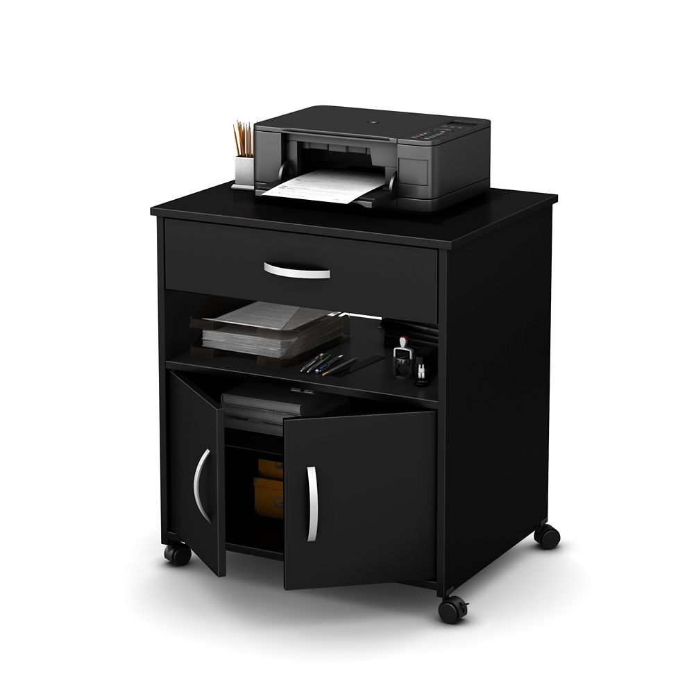 Axess Printer Cart on Wheels, Pure Black