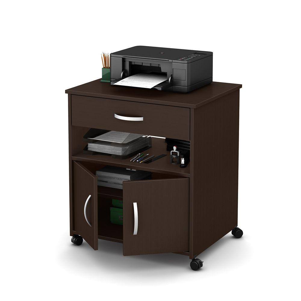 Rangement à imprimante sur roulettes, Chocolat, collection Axess