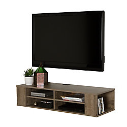 City Life 48 Inch Wall Mounted Media Console, Weathered Oak