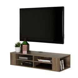 City Life 48 Inch Wall Mounted Media Console Weathered Oak
