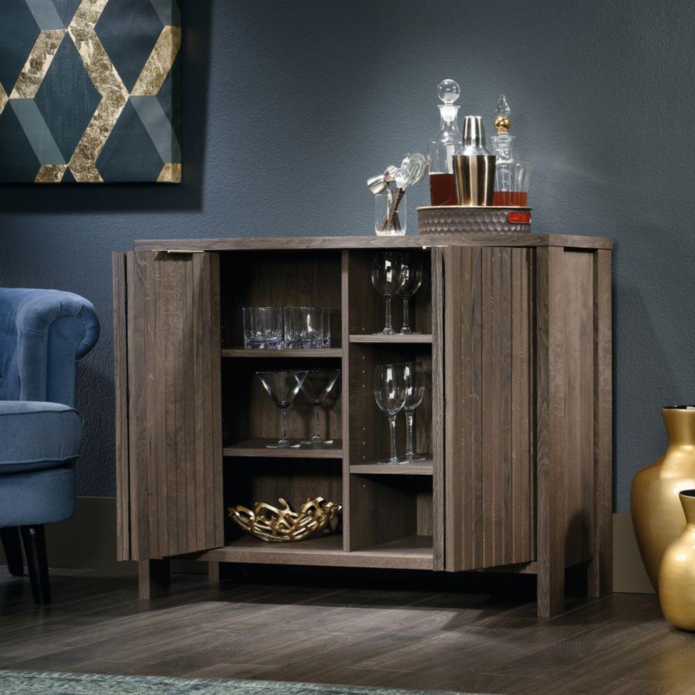 Sauder International Lux Accent Storage Cabinet in Fossil Oak Finish