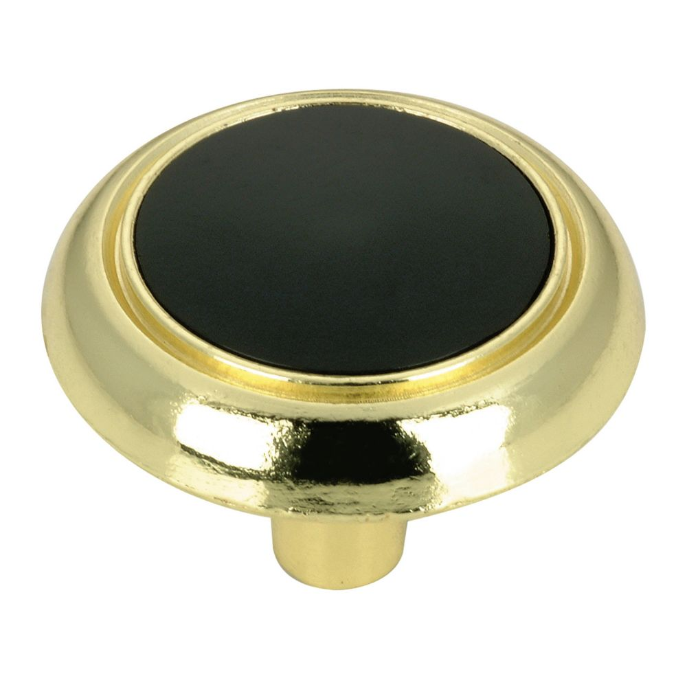 Richelieu Eclectic Metal and Ceramic Knob - Brass and Black - 32 mm Dia.