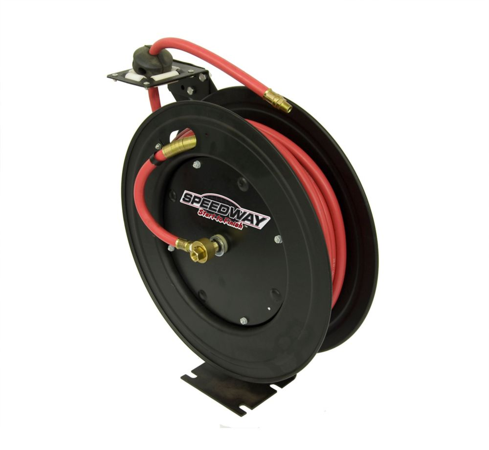Speedway Retractable Air Hose Reel with 3/8 inch by 50 ft Hose