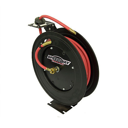 Retractable Air Hose Reel with 3/8-inch by 50 ft. Hose