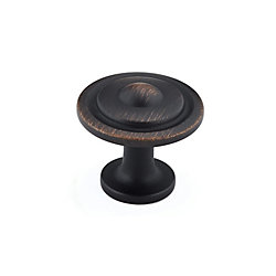 Richelieu Traditional Metal Knob 1 1/4 in (32 mm) Dia - Brushed Oil-Rubbed Bronze - Vendôme Collection