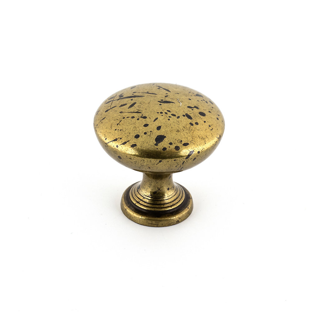 Traditional Metal Knob 1 3/16 in (30 mm) Dia - Oxidized Brass - Monceau Collection