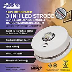 3 in1 Strobe/ Smoke and Carbon Monoxide Alarm - hardwire with 10yr BBU