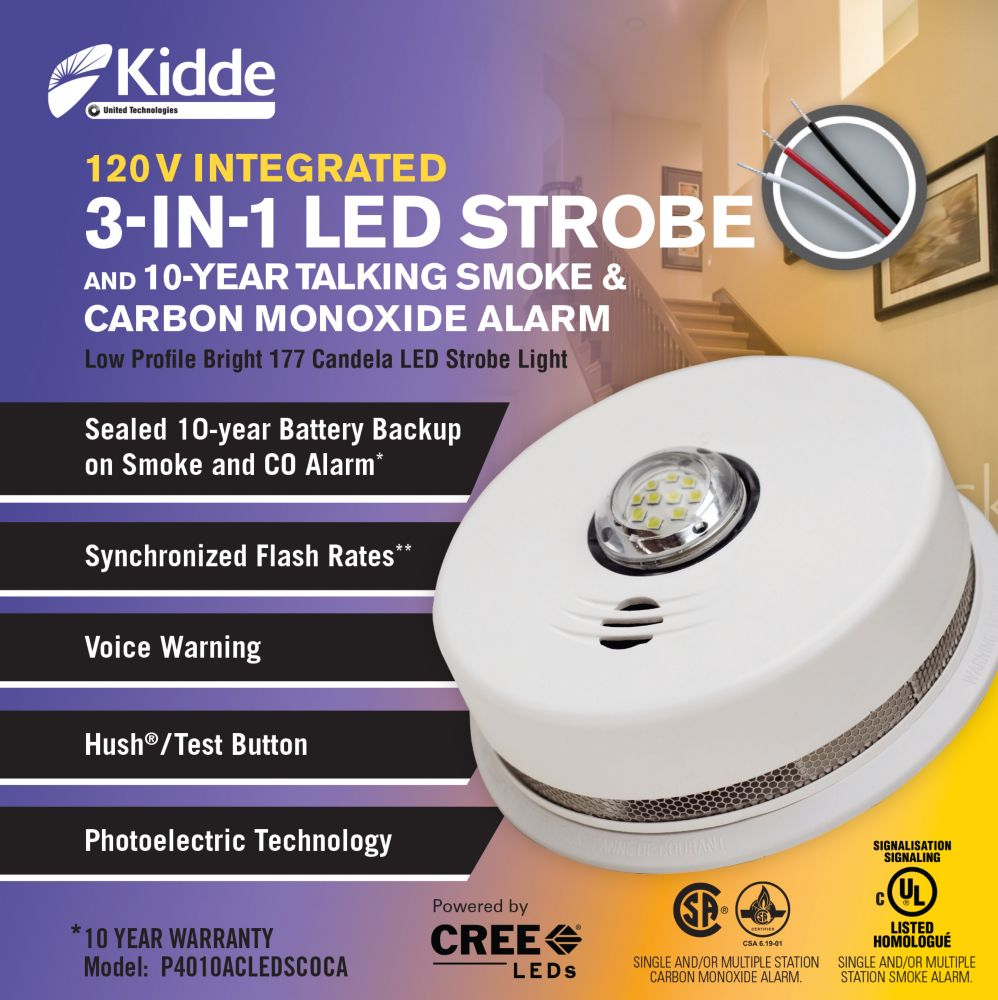 Kidde 3 in1 Strobe/ Smoke and Carbon Monoxide Alarm - hardwire with 10yr BBU