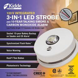 Kidde 3 in1 Strobe/ Smoke and Carbon Monoxide Alarm - hardwire with 10yr BBU