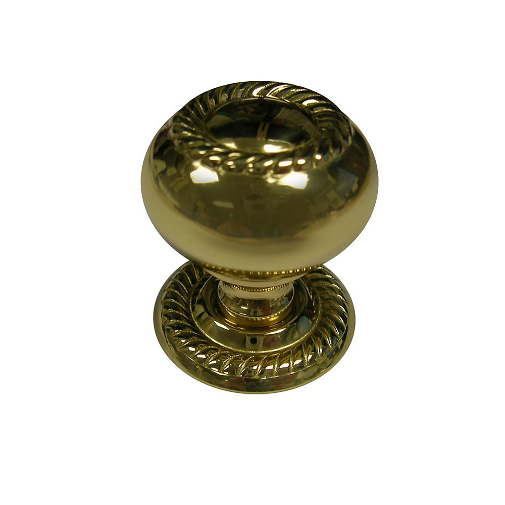 Traditional Metal Knob 1 1/4 in (32 mm) Dia - Brass - Huntingdon Collection