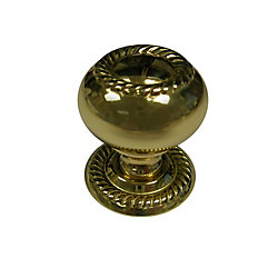 Richelieu Traditional Metal Knob 1 1/4 in (32 mm) Dia - Brass - Huntingdon Collection