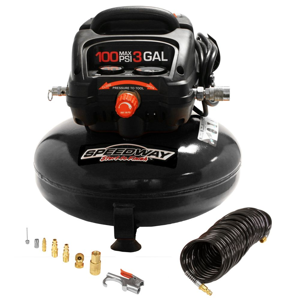 Speedway 3 gal pancake compressor Oil free-Includes. 25' PU recoil hose & inflation kit