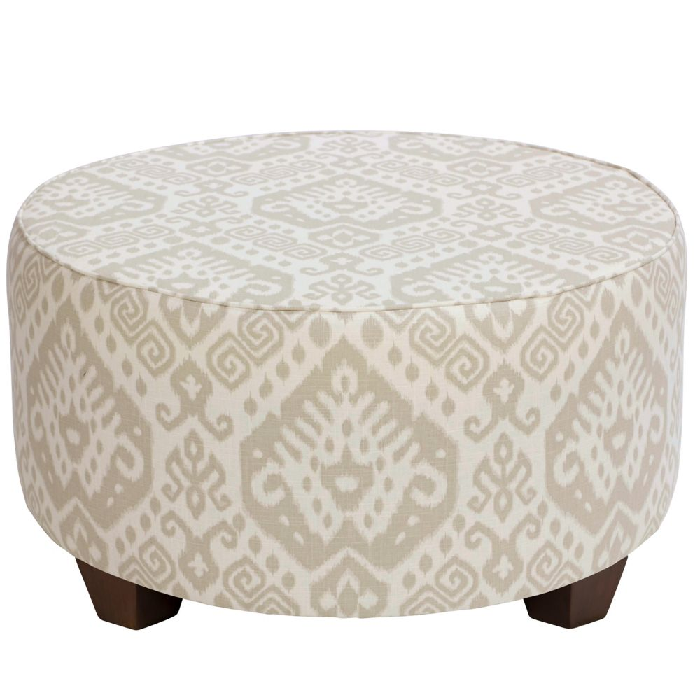 Round Cocktail Ottoman In Safi Dove Grey