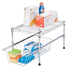 11-inch H x 12-inch W x 18-inch D Adjustable Steel Shelf with Basket Cabinet Organizer in Chrome