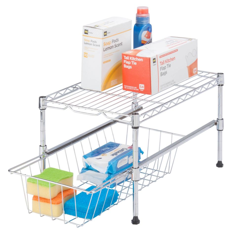 Honey-Can-Do International 11-inch H x 12-inch W x 18-inch D Adjustable Steel Shelf with Basket Cabinet Organizer in Chrome