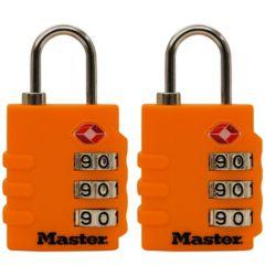 Master Lock Cadenas accepté par la TSA de 35mm (13/8po) de largeur; couleurs assorties; paquet de 2