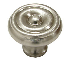 Richelieu Traditional Brass Knob 1 1/4 in (32 mm) Dia - Brushed Nickel - Laval Collection