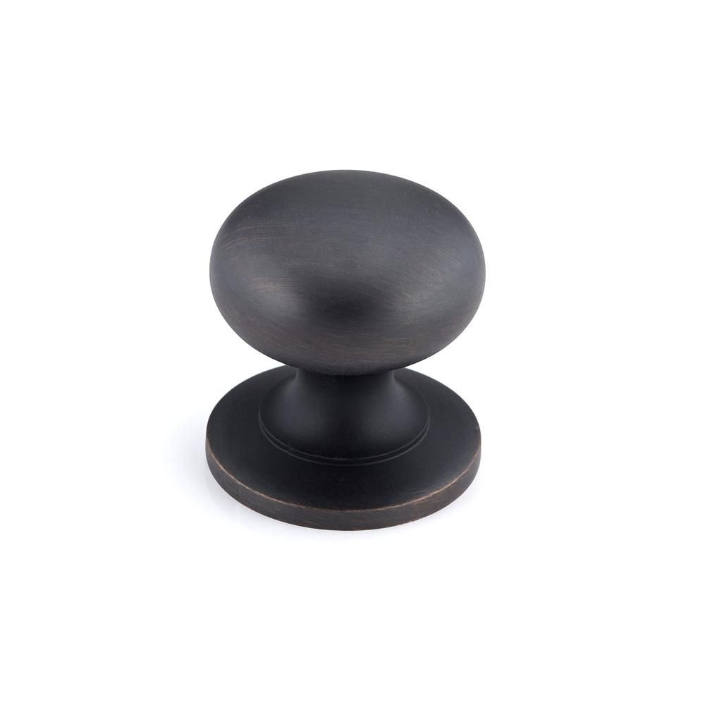 Traditional Brass Knob 1 1/4 in (32 mm) Dia - Brushed Oil-Rubbed Bronze - Prairie Collection