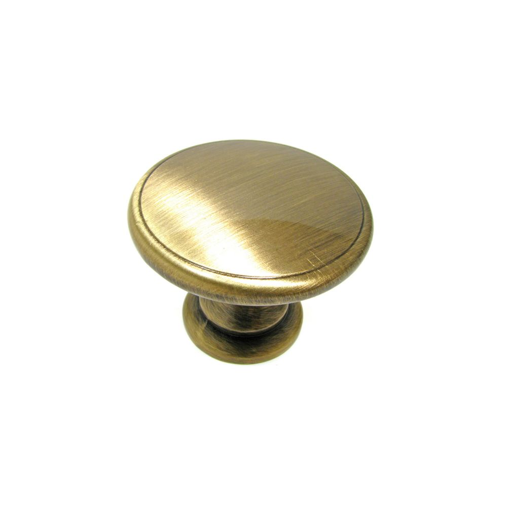 Traditional Metal Knob 1 23/32 in (44 mm) Dia - Antique English - Mont-Royal Collection