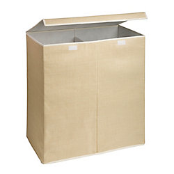 Honey-Can-Do International Large Dual Laundry Hamper with Lid, Natural Resin