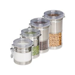 Honey-Can-Do International Stainless & Acrylic Canisters (4-Pack)