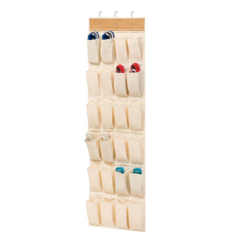 Over-the-Door 24-Pocket Shoe Organizer in Canvas and Bamboo