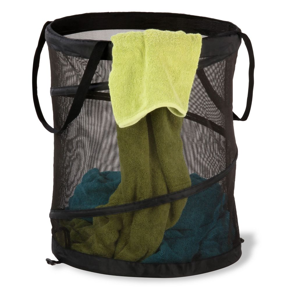 Large Black Mesh Pop Open Hamper