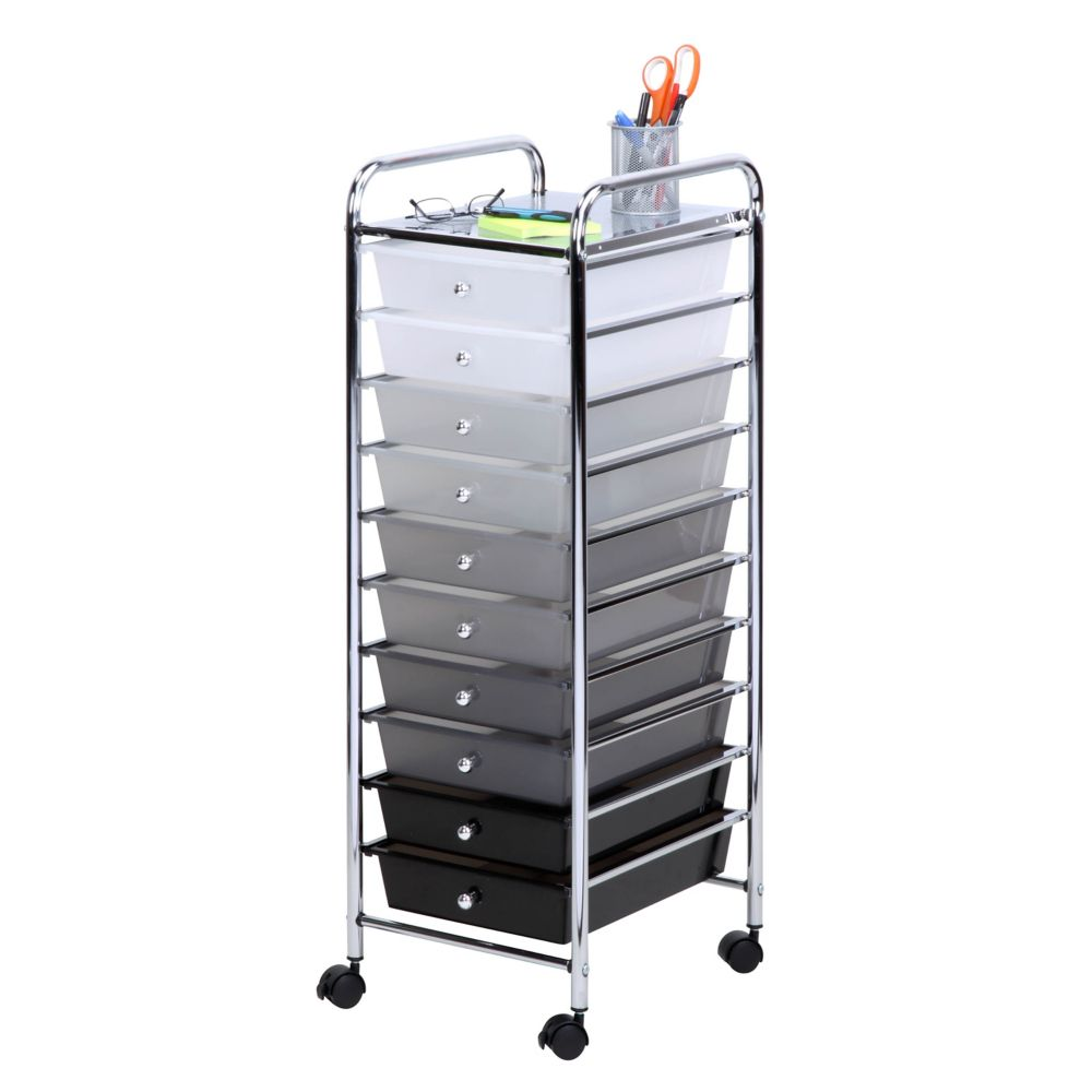 10 Drawer Shaded Storage Cart