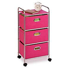 3 drawer rolling cart pink