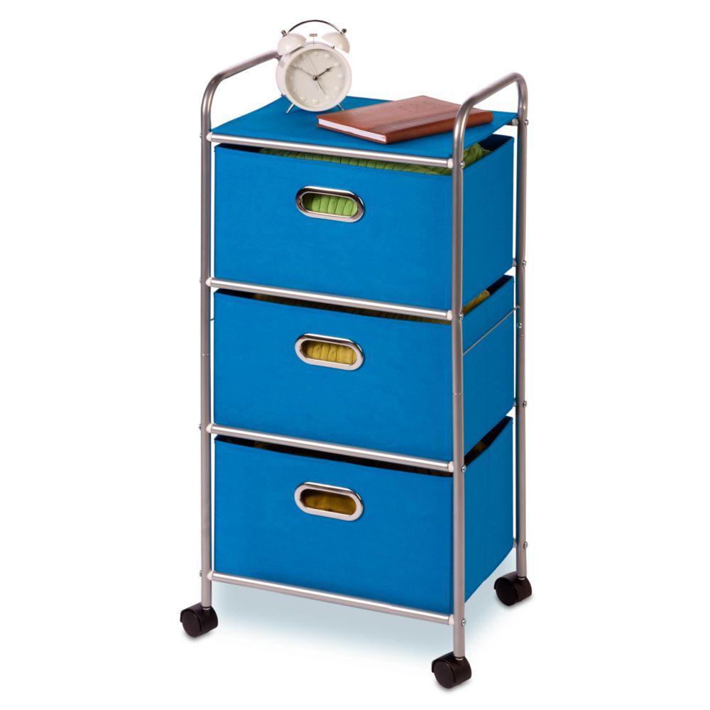 3 drawer rolling cart blue