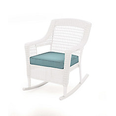 Spring Haven All-Weather Wicker Patio Rocking Chair in White with Blue Cushion