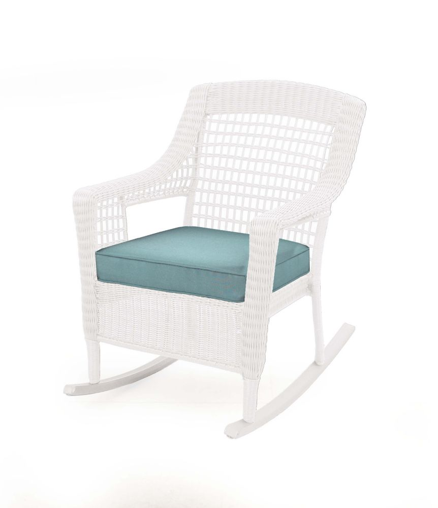 Hampton Bay Spring Haven All-Weather Wicker Patio Rocking Chair in White with Blue Cushion